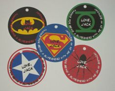 Personalized Super Hero Birthday Party Favor Tags Superman, Spiderman, Batman, Captain America, Green Lantern Marvel Comics Superheroes
