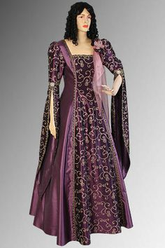 Purple and Gold Medieval Renaissance Fantasy Gown