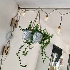 Plant Hanger, Planter Pots, Home Decor, Christmas Fairy Lights, Fairy Lights, Bed Headboards, Interior Decorating, Decorating Ideas, Environment