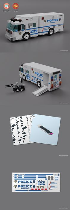Instruction Manuals Custom Stickers And Instructions To Build A Lego Nypd Bomb Squad Truck - Police Truck, Lego City Police, Lego Auto, Lego Wheels, Lego Fire, Lego Truck, Lego Pictures, All Lego, Custom Lego