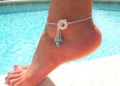 inspiración cadena de plata de palanca para el tobillo con el azul turquesa por DeliBejeweled
