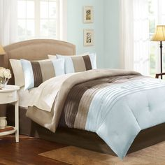 Better Homes and Gardens Perfectly Pleated Stripe Comforter Set, Blue/Brown