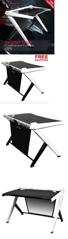 Office Furniture: Dxracer Office Desk Gaming Desk Comfortable Table Computer Desks Gd1000/Nw BUY IT NOW ONLY: $399.0
