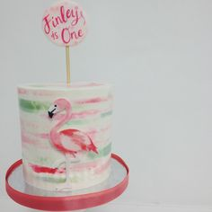 @sweet_deetails and @kacyhyder combined their talents to make the cutest flamingo smash cake  love that watercolor buttercream