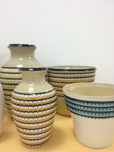 Lovely collection of Hornsea Pottery Stoneware Slip vases and plant pots at the annual Hornsea Collectors Fair