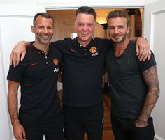 Two @manutd legends pose with the current manager Louis van Gaal during the club's pre-season tour of the USA in 2014.