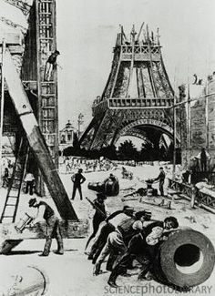 Illustration de la construction de la Tour Eiffel en 1888.
