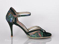 Women's tango shoe - Green & Lilium print - binicideri.com