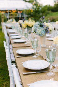 fresh summer tablescape #tablescapes  Photography: M Three Studio - mthreestudio.com  Read More: http://www.stylemepretty.com/2014/06/05/lakeside-al-fresco-wedding/