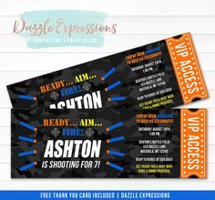 Printable Nerf Gun Inspired Ticket Birthday Invitation, Nerf War Party, Nerf Battle, Boys Nerf Bullet Invite, Target Practice, Foam Dart Ticket Invitation, Nerf Gun DIY Printable Party Package Decorations, Banner, Signs, Cupcake toppers, Favor Tag, Water Bottle Labels, FREE thank you card at Dazzle Expressions Ticket Invitation, Printable Birthday Invitations, Printable Party, Baby Shower Invitations, Invite, Printable Thank You Cards, Free Thank You Cards, Birthday Party At Park, It's Your Birthday