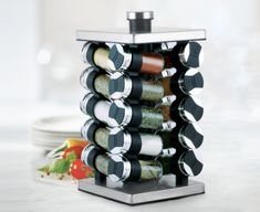 Spice up your cooking with the Thinkkitchen Paderno spice rack. Sturdy and durable, it's modern design allows you to grab spices all the while maximizing on storage space. Complete with 20 pre-filled glass bottles stored in a tower rack, it'll make a func Spice Rack Cupboard, Kitchen Storage Solutions, Stylish Kitchen, Glass Bottles, Spice Things Up, Wine Rack, Storage Spaces, Modern Design, Spices