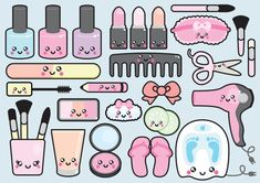 Premium Vector Clipart – Kawaii Beauty Clipart – Kawaii Beauty Clip art Set – High Quality Vectors – - Belezza,animales , salud animal y mas Kawaii Doodles, Cute Doodles, Image Clipart, Vector Clipart, Kawaii Stickers, Cute Stickers, Kawaii Drawings, Cute Drawings, Printable Planner