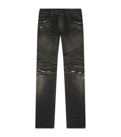 Balmain Slim Fit Destroyed Biker Jeans