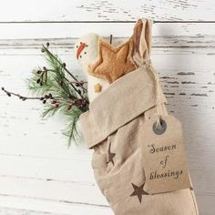 "Primitive ""Season of Blessings"" Stocking with Stars - Wall Hanging ..."