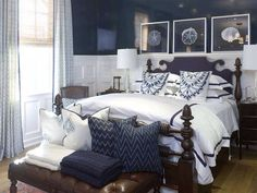 Beautiful Blue And White Bedroom: Surprising Navy Blue White Traditional Bedroom  Design Decorating Ideas