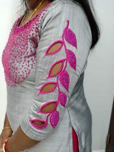 Could do alternating reverse appliqué instead of filling in the leaves with satin stitching Salwar Neck Designs, Kurta Neck Design, Fancy Blouse Designs, Blouse Neck Designs, Churidar Neck Designs, Kurti Sleeves Design, Kurta Designs, Bridal Blouse Designs, Hand Work Blouse Design
