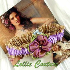 Champagne garters  2 pc set by lolliecouture on Etsy, $48.00