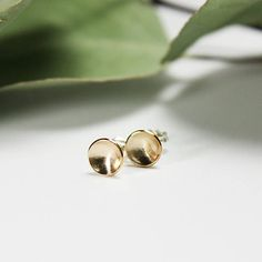 Brushed yellow gold-filled stud earrings made with sterling silver posts. Studs, Stud Earrings, Posts, Trending Outfits, Unique Jewelry, Sterling Silver, Handmade Gifts, Yellow, Gold