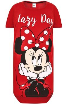 Yours Clothing Women's Plus Size Disney Minnie Mouse 'lazy Day' Nightdress Cute Pajama Sets, Cute Pjs, Cute Pajamas, Pajama Outfits, Disney Outfits, Disney Clothes, Kendall Jenner Dress, Betty Boop Purses, Plus Size Disney