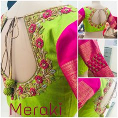 Fluorescent colour combination blouse , made for reddy… Hand Work Blouse Design, Simple Blouse Designs, Stylish Blouse Design, Aari Work Blouse, Simple Designs, Wedding Saree Blouse Designs, Saree Blouse Neck Designs, Designer Blouse Patterns, Designer Dresses