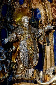 The impressive silver statue of Saint Ignatius of Loyola, the founder of the Jesuit Order, at the Gesù church in Rome.