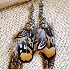 Boucles d'oreilles ethniques, plumes de faisan colchide et vénéré, bouddha