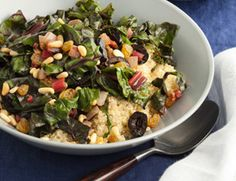 Sicilian Swiss Chard over Quinoa-YUMMMY and very different with golden raisins!