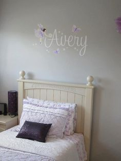 Fabric WALL NAME DECALS Lilac Fairy Girls Bedroom Baby Nursery Wall Name Decal