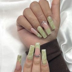 Bling Acrylic Nails, Simple Acrylic Nails, Best Acrylic Nails, Simple Nails, Long Square Acrylic Nails, Tapered Square Nails, Funky Nails, Fire Nails, Luxury Nails