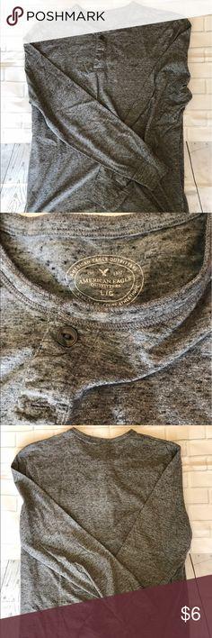 American Eagle Men's Henley Long Sleeve American Eagle Men's Henley Long Sleeve  Size L Color: grey American Eagle Outfitters Shirts Tees - Long Sleeve