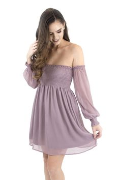 Women's Dress-Long Sleeve Off Shoulder Dress With Smocking Dusty Mauve