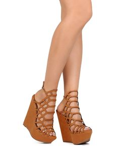 New-Women-Breckelles-Vivi-35-Leatherette-Peep-Toe-Hollow-Slingback-Wedge-Sandal
