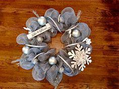 Silver Winter Wreath Let it Snow Elegant by EmbellishedByKayla