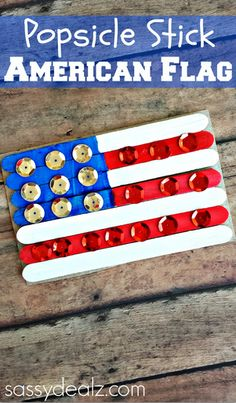 Make this fun popsicle stick American flag craft with your kids for the 4th of July or Memorial day! It's easy and cheap to make.