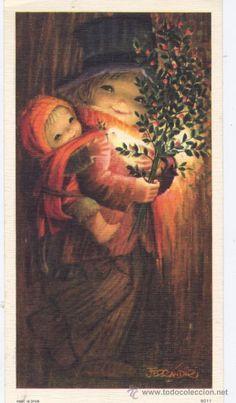 FELICITACION NAVIDAD *FERRANDIZ* - 1973  (15 x 7,50 cm) Christmas Canvas, Merry Christmas, Xmas, Spanish Painters, Holy Night, Vintage Greeting Cards, Sacred Art, Christmas Images, Illustrators