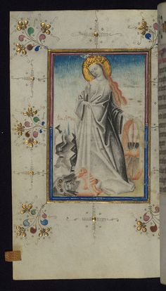 St Catherine with her Catherine wheel, fifteenth-century Masters of the Delft Grisailles book of hours. (Walters Museum)