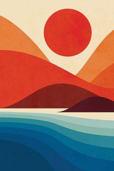 pop art Seaside Art Print by Jay Fleck. World - art Painting Inspiration, Art Inspo, Seaside Art, Plakat Design, Sea Art, Diy Canvas Art, Canvas Canvas, Art Pop, Grafik Design