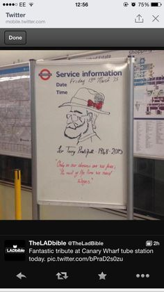 Sir Terry Pratchett tribute found at Canary Wharf tube station.