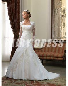Robe de mariée en dentelle à A-ligne sans bretelle à traîne Chapelle en satin