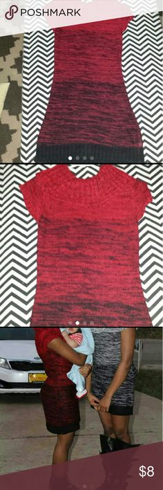 L.e.i sweater dress Red and black, size small, comfy and warm great for winter. l.e.i Sweaters Crew & Scoop Necks