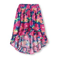 Vibrant colors and a fashionable hi-low hem makes this skirt every girl