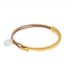 'Bresle' Two strand of soft taupe leather hooked on a gold plated bar