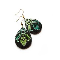 Victorian texture earrings, teal, kiwi, black, polymer clay teardrops featuring polyvore women's fashion jewelry earrings clay jewelry teardrop earrings teal jewelry teal blue earrings clay earrings