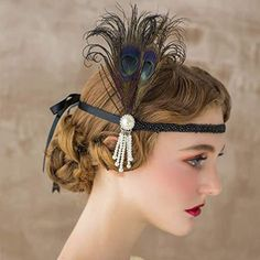 Vintage Hairstyles: Easy Pin Curl Set for Retro Waves Great Gatsby Headpiece, 1920s Headpiece, Gatsby Hair, Gatsby Headband, 1920s Hair, 1920s Flapper, 1920 Gatsby, Flapper Hair, Crystal Headband