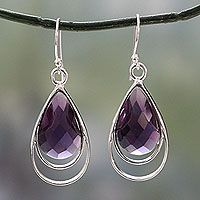 Amethyst dangle earrings, 'Delhi Glam'