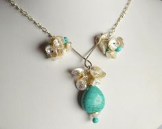 Turquoise and keshi pearl wire wrapped necklace by starrydreams, $65.00