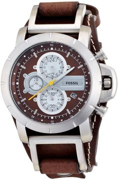 Fossil Men's JR1157 Brown Leather Strap Brown Analog Dial Chronograph Watch < $89.00 > Fossil Watch Men
