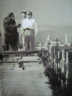 "On the set... a different perspective.  (""Honey, I shrunk ... well, everything! I swear, I was aiming at the monkey."")"