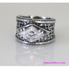 Silpada Israel Artisan Jewelry Size 8 - 8.5 Marquise Cubic Zirconia 925 Sterling Silver Wide Woven Band Ring Retired Rare