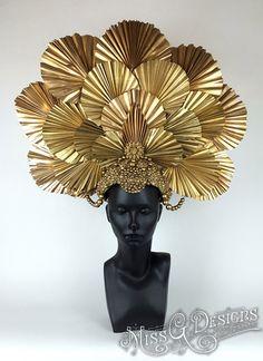 Awaken your inner Goddess with Miss G Design's handmade headdress collection. Decoration Chic, Golden Goddess, Head Jewelry, Body Adornment, Headgear, Headdress, Costume Design, Mardi Gras, Masquerade